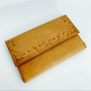 VINTAGE 70's leather tooled wallet clutch purse